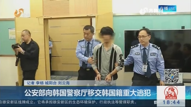 公安部向韩国警察厅移交韩国籍重大逃犯