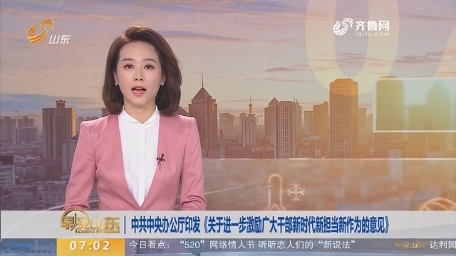 中共中央办公厅印发《关于进一步激励广大干部新时代新担当新作为的意见》