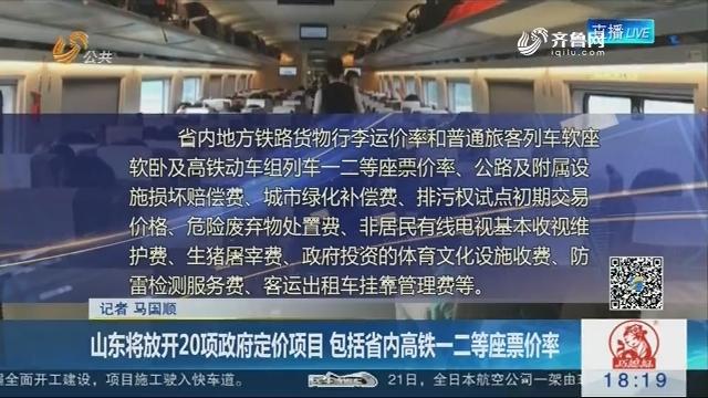 山东将放开20项政府定价项目 包括省内高铁一二等座票价率