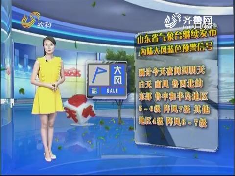 看天气:山东省气象台继续发布内陆大风蓝色预警信号