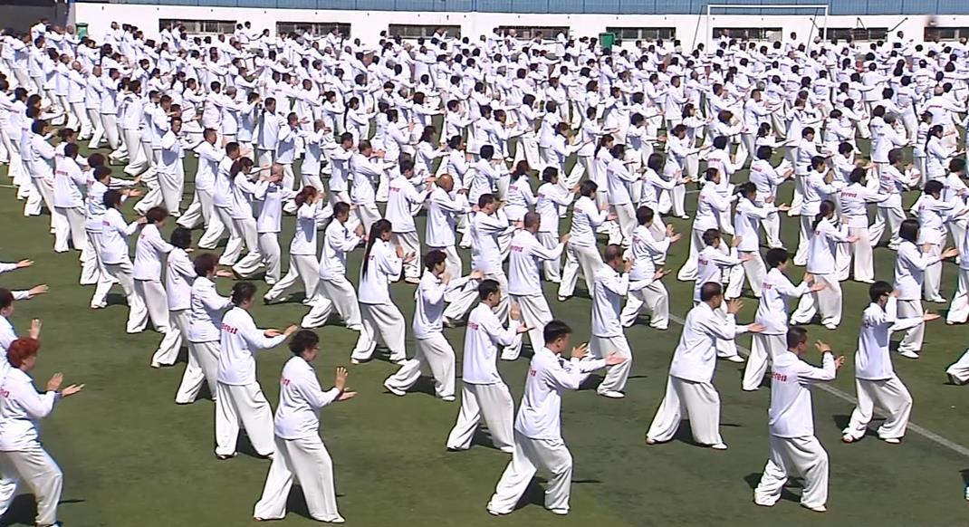烟台老年人太极拳百米方阵同起舞