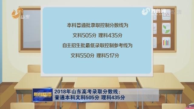 2018年山东高考录取分数线:普通本科文科505分 理科435分