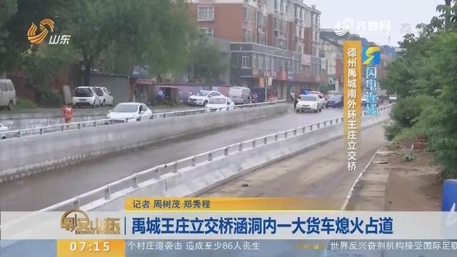 【闪电连线】禹城王庄立交桥涵洞内一大货车熄火占道