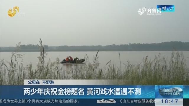 【父母在 不野游】菏泽:两少年庆祝金榜题名 黄河戏水遭遇不测