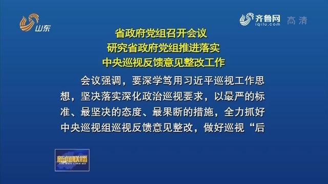 省政府黨組召開會議 研究省政府黨組推進落實中央巡視反饋意見整改工作