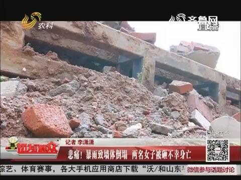 悲痛!暴雨致墙体倒塌 两名女子被砸不幸身亡