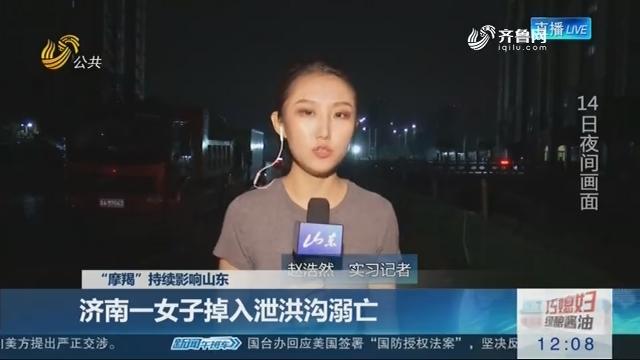 """【""""摩羯""""持续影响山东】济南一女子掉入泄洪沟溺亡"""