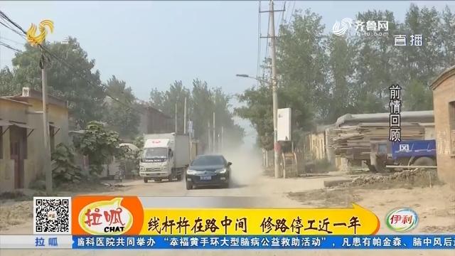 莘县:线杆杵在路中间 修路停工近一年