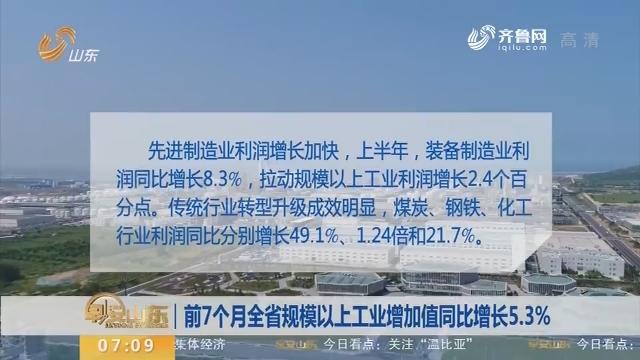 前7个月全省规模以上工业增加值同比增长5.3%