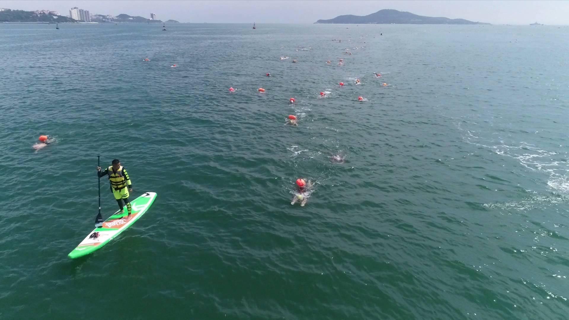 2018横渡刘公岛海湾公开水域游泳国际邀请赛开赛