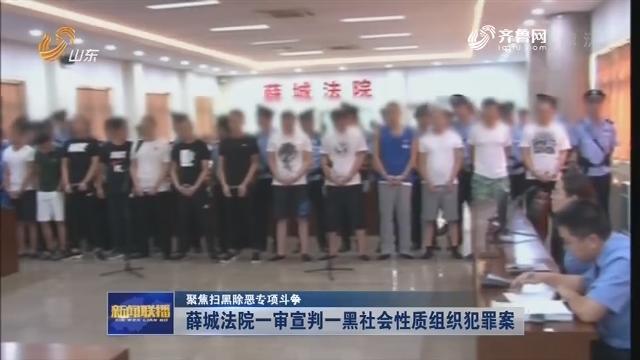【聚焦扫黑除恶专项斗争】薛城法院一审宣判一黑社会性质组织犯罪案