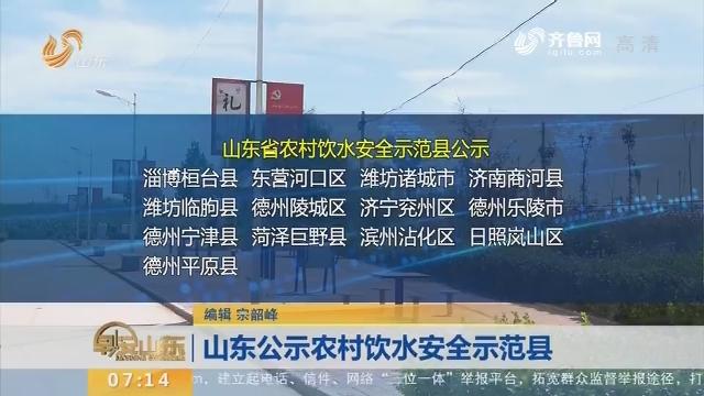 山东公示农村饮水安全示范县