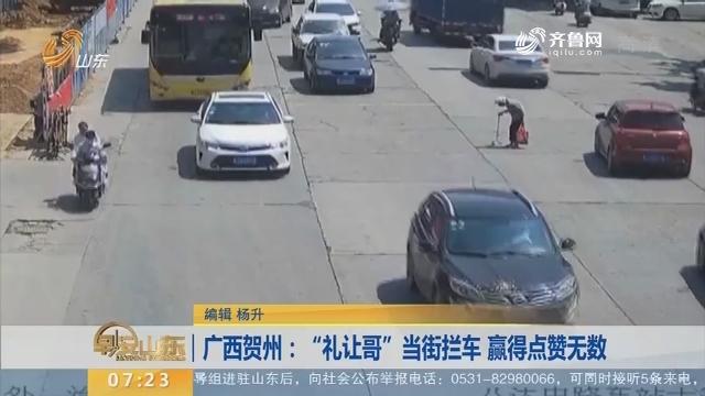 """【闪电新闻排行榜】广西贺州:""""礼让哥""""当街拦车 赢得点赞无数"""