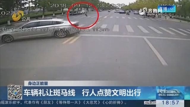 【身边正能量】淄博:车辆礼让斑马线 行人点赞文明出行