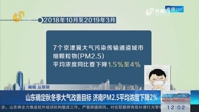 山东确定秋冬季大气改善目标 济南PM2.5平均浓度下降2%