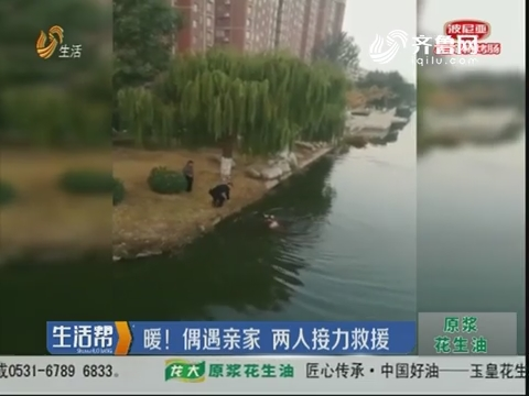 济宁:求救!一名老人落入湖水中