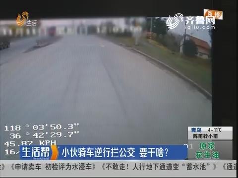 淄博:小伙骑车逆行拦公交 要干啥?