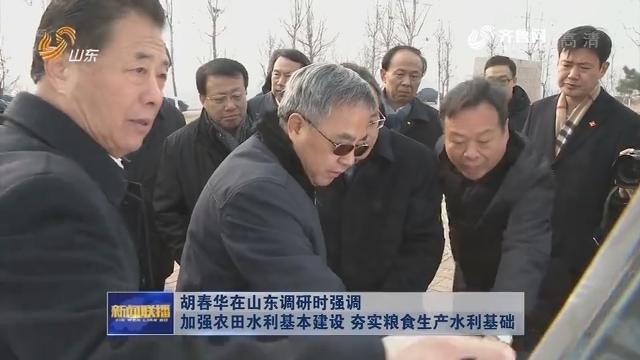胡春華在山東調研時強調 加強農田水利基本建設 夯實糧食生產水利基礎