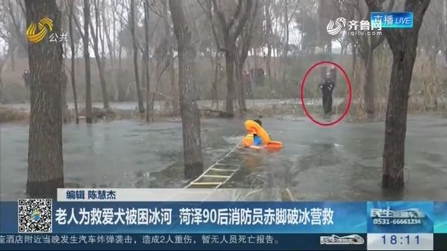 【寒冬中的温暖】老人为救爱犬被困冰河 菏泽90后消防员赤脚破冰营救