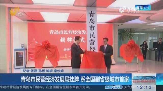 青岛市民营经济发展局挂牌 系全国副省级城市首家
