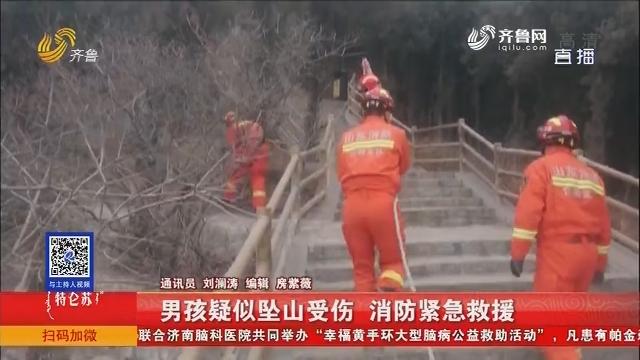 济南:男孩疑似坠山受伤 消防紧急救援
