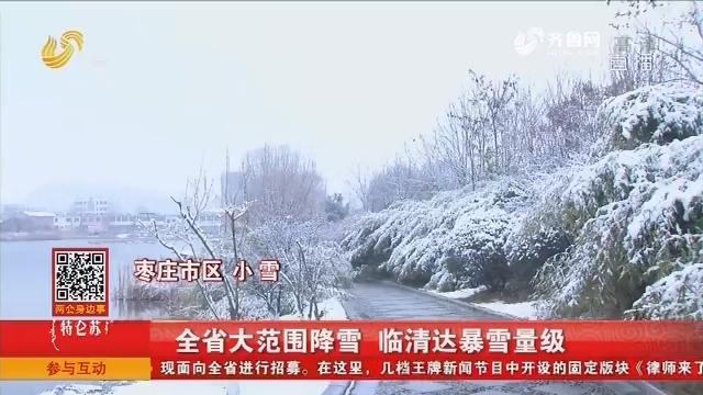 全省大范围降雪 临清达暴雪量级