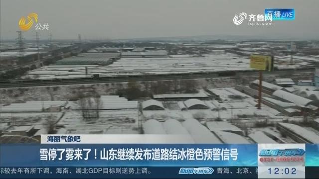 【海丽气象吧】雪停了雾来了!山东继续发布道路结冰橙色预警信号