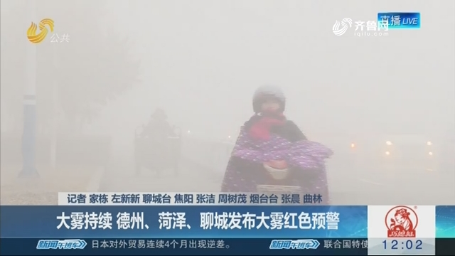 【海丽气象吧】大雾持续 德州、菏泽、聊城发布大雾红色预警