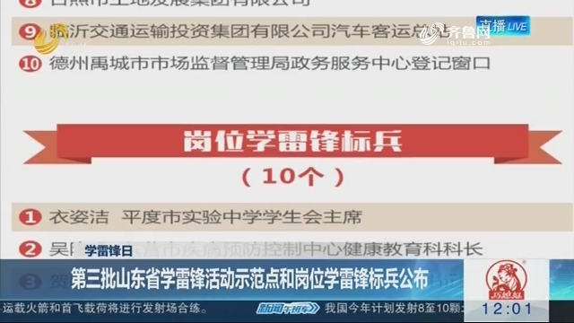 【学雷锋日】第三批山东省学雷锋活动示范点和岗位学雷锋标兵公布