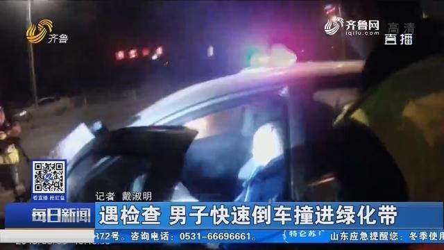 淄博:遇检查 男子快速倒车撞进绿化带