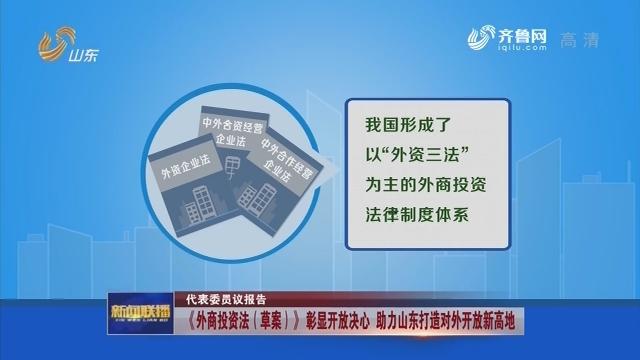 【代表委员议报告】《外商投资法(草案)》 彰显开放决心 助力山东打造对外开放新高地
