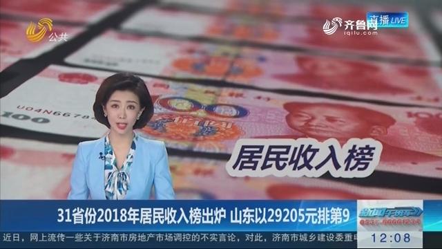 31省份2018年居民收入榜出炉 山东以29205元排第9