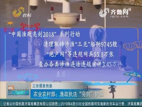"""【三农信息快递】农业屯子部:渔政执法""""亮剑""""护渔"""