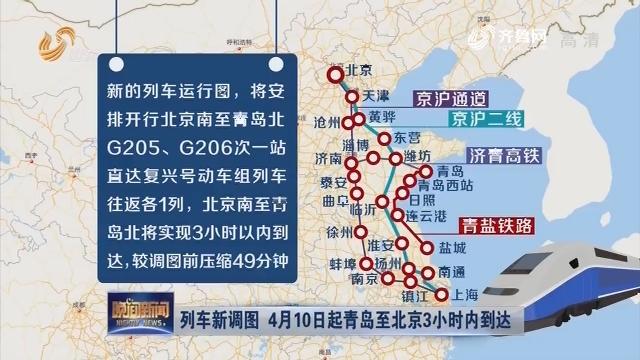 列车新调图 4月10日起青岛至北京3小时内抵达