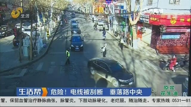 淄博:危险!电线被刮断 垂落路中央