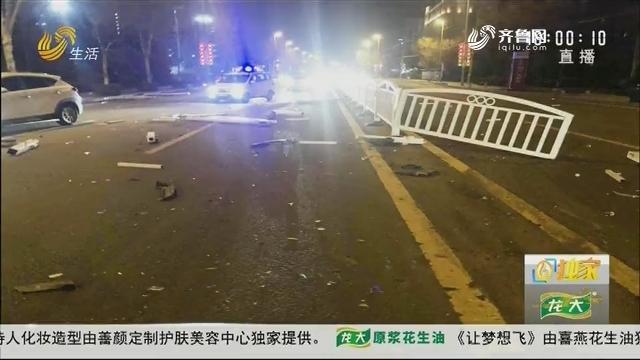 青岛:惊险!越野车冲撞15节护栏