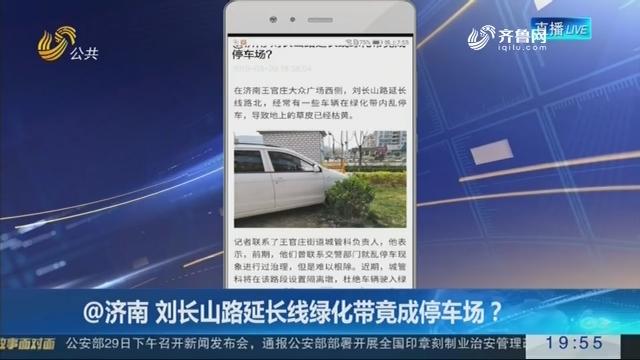 @济南 刘长山路延长线绿化带竟成停车场?