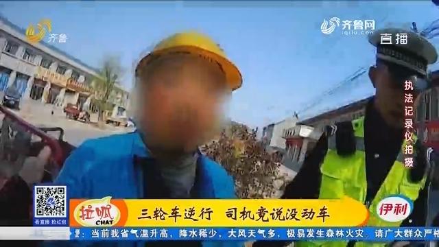 淄博:三轮车逆行 司机竟说没动车