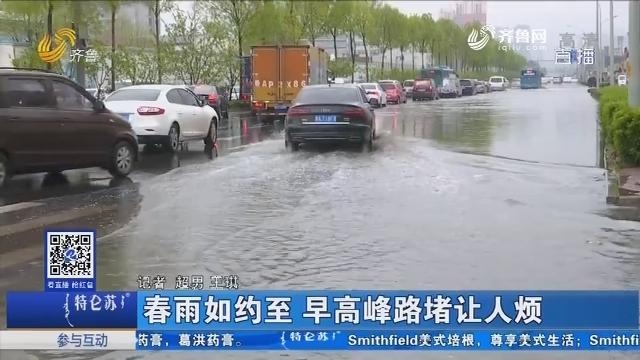 济南:春雨如约至 早高峰路堵让人烦