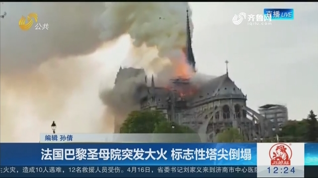 法国巴黎圣母院突发大火 标志性塔尖倒塌