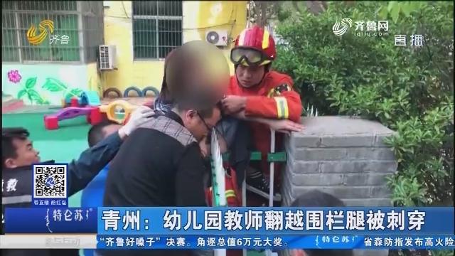 青州:幼儿园教师翻越围栏腿被刺穿