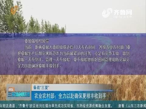"""【备战""""三夏""""】农业农村部:全力以赴确保夏粮丰收到手"""