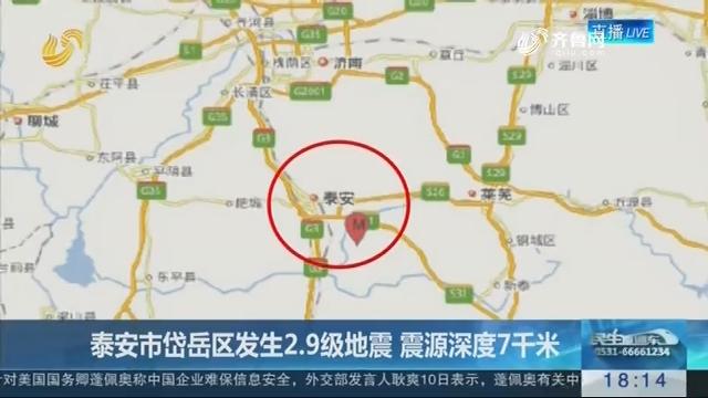 泰安市岱岳区发生2.9级地震 震源深度7千米