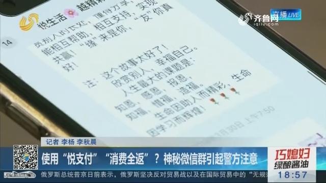 """滨州:使用""""悦支付""""""""消费全返""""? 神秘微信群引起警方注意"""