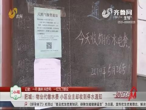肥城:物业代缴水费 小区业主却收到停水通知