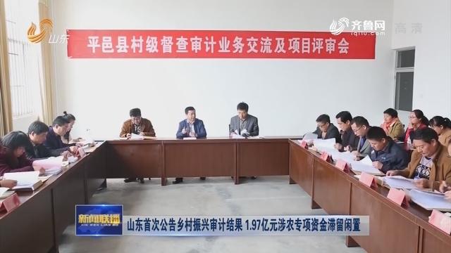 山东首次公告乡村振兴审计结果 1.97亿元涉农专项资金滞留闲置