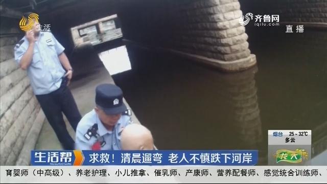 淄博:求救!清晨遛弯 老人不慎跌下河岸