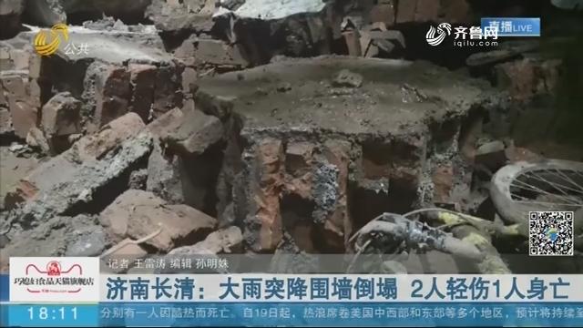 济南长清:大雨突降围墙倒塌 2人轻伤1人身亡