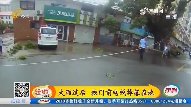 淄博:大雨过后 校门前电线掉落在地