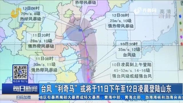 """台风""""利奇马""""或将于11日下午至12日凌晨登陆山东"""